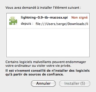 Installation du module lightning